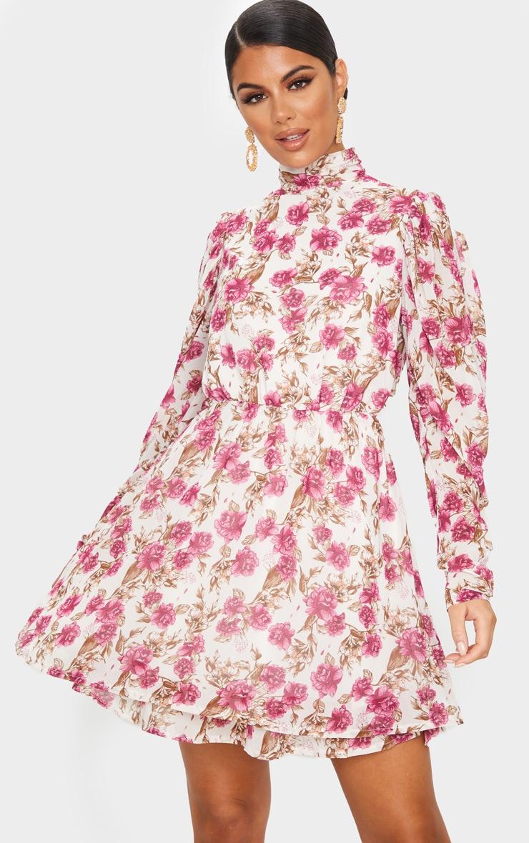 Nude Floral Print High Neck Chiffon Skater Dress 3