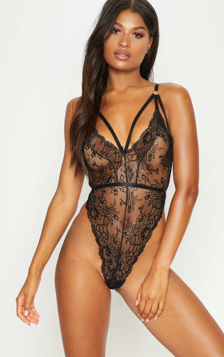 Black Ring Detail Strappy Lace Body