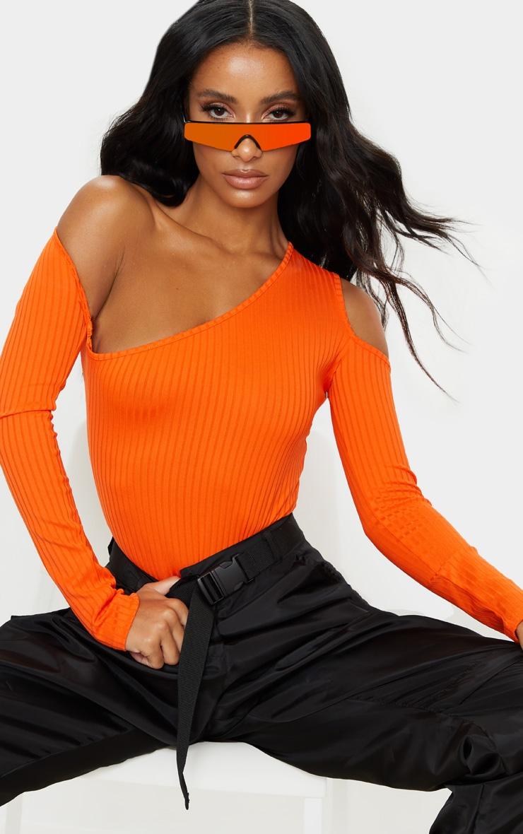 Orange Rib Cut Out Long Sleeve Bodysuit 1