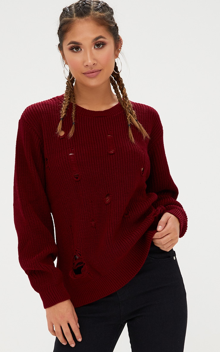 Burgundy Distressed Knitted Jumper 1