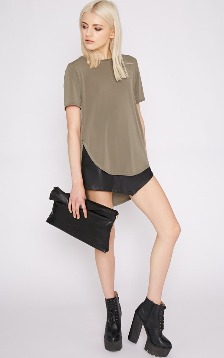 Dora Khaki Dipped Hem Top 5