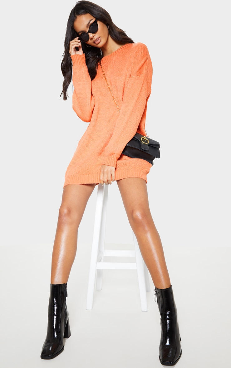 Orange Oversized Knitted Jumper Dress  1