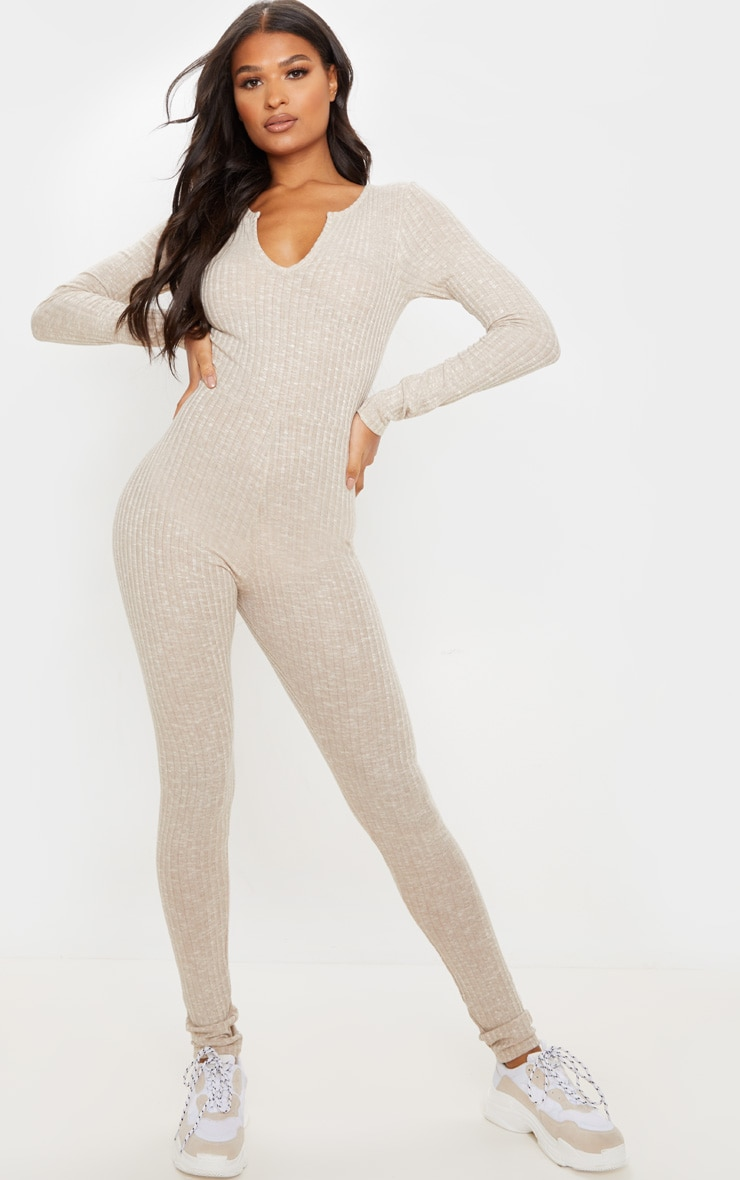 Oatmeal Open Neck Fitted Jumpsuit