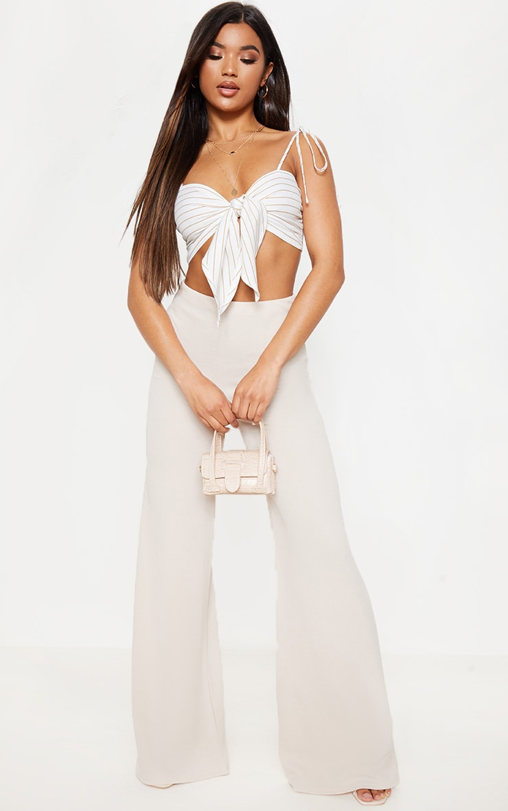 Stone High Waisted Wide Leg Trouser 1