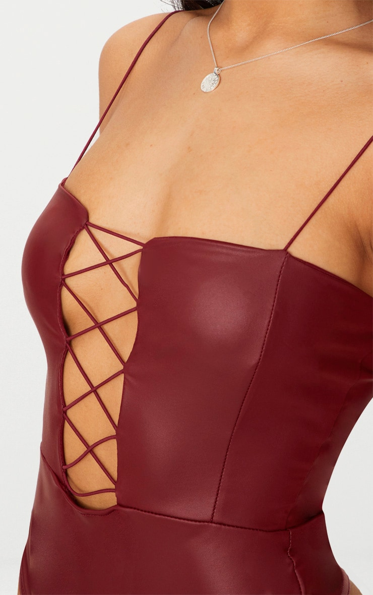 Burgundy Strappy Lace Up PU Thong Bodysuit  6