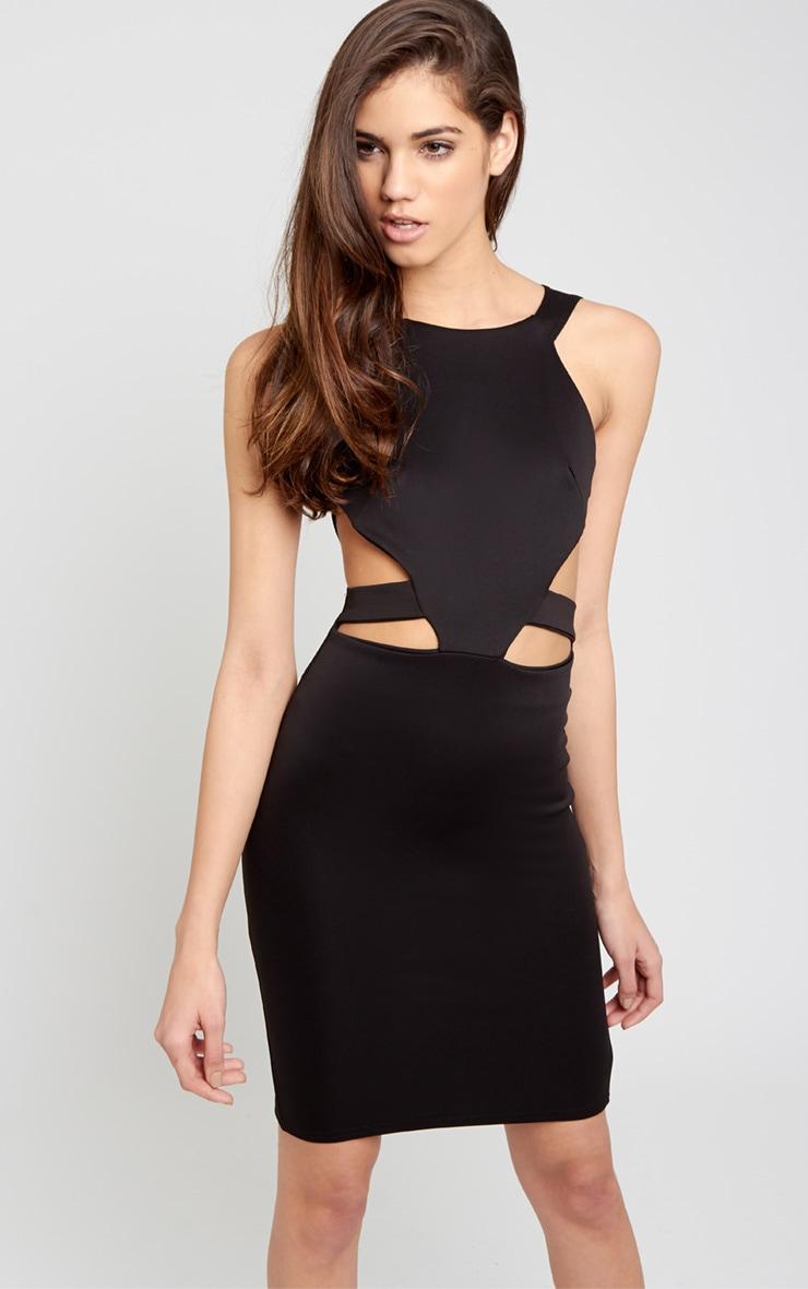 Saffron Black Cut Out Midi Dress 4