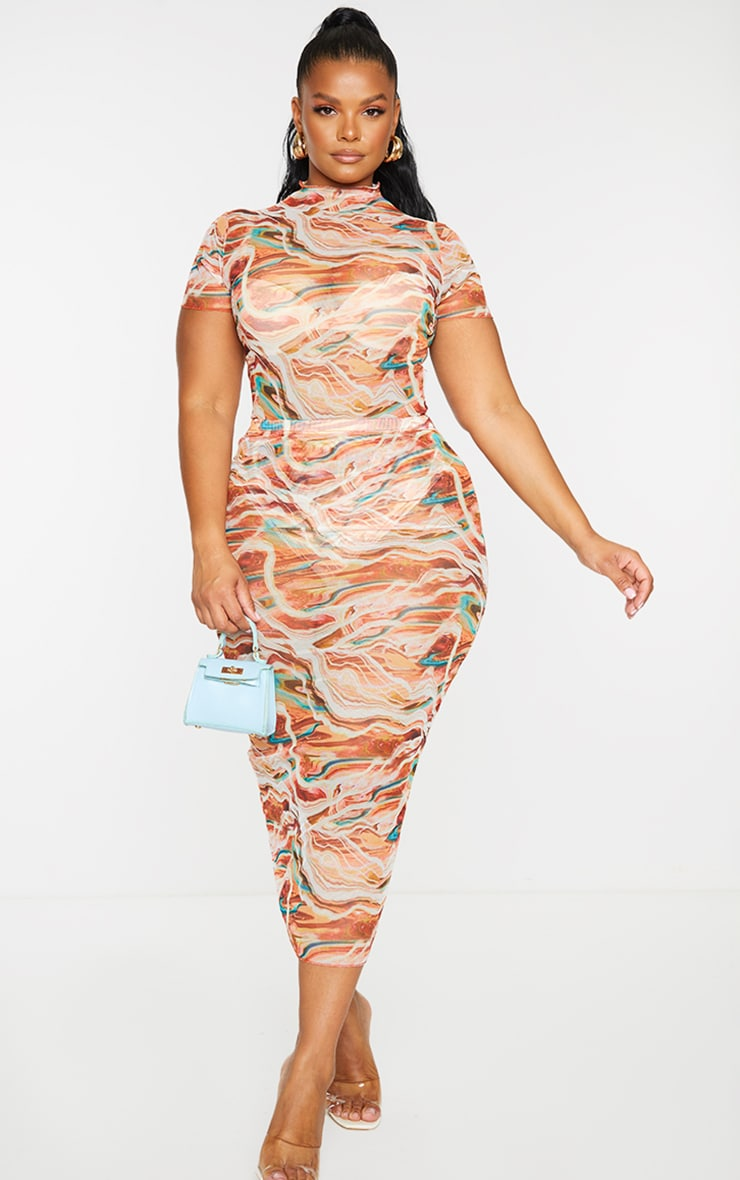 Plus Brown Marble Print Mesh Bodycon Midi Skirt 1