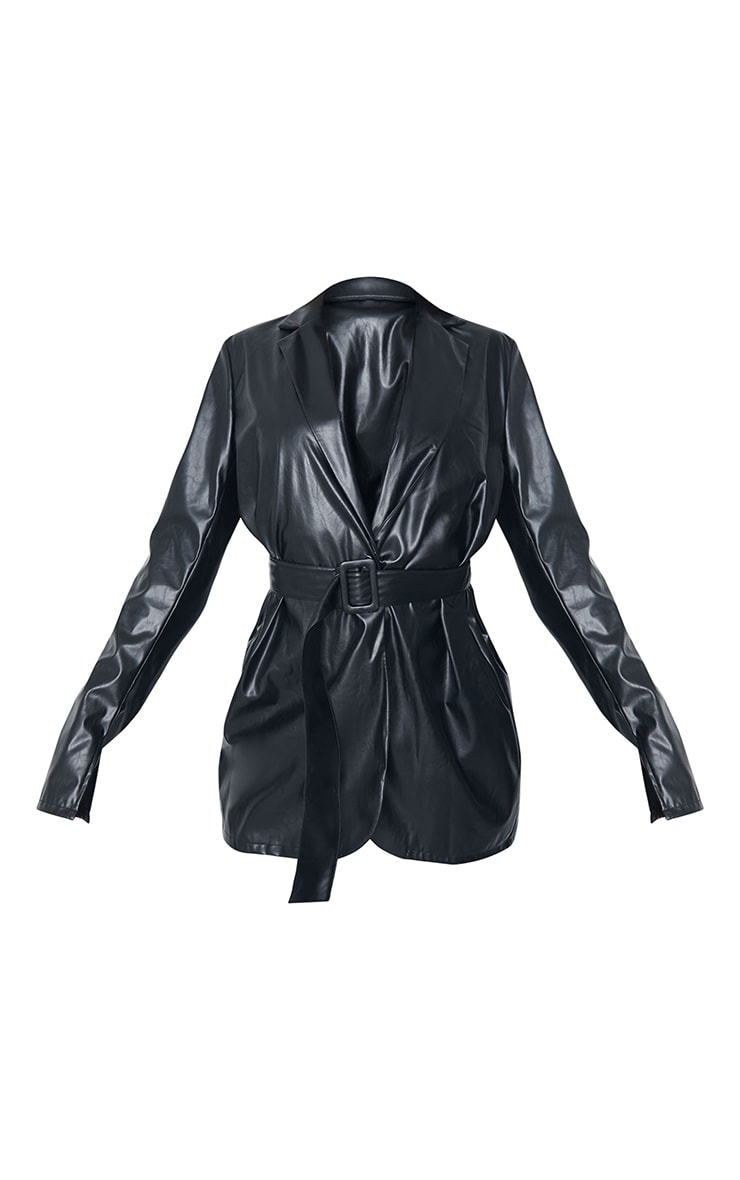 Tall Black Faux Leather Belted Split Cuff Belted Blazer 5