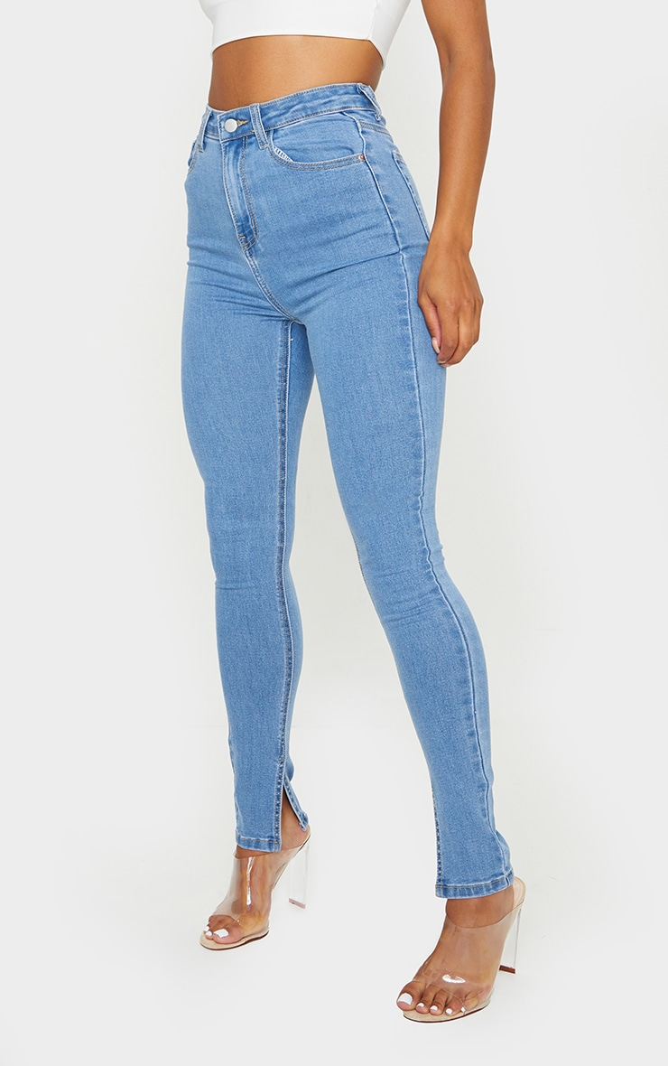 Light Blue Wash Side Split Hem Skinny Jeans 2