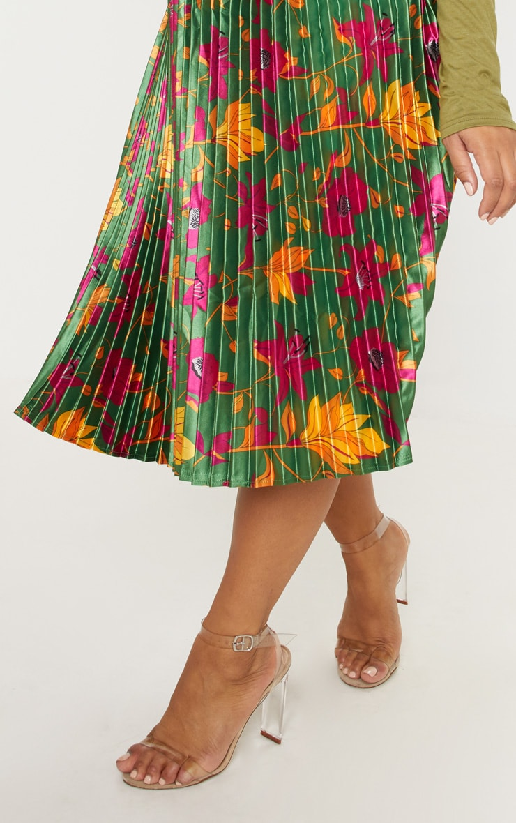 Plus Emerald Green Floral Print Pleated Midi Skirt 6