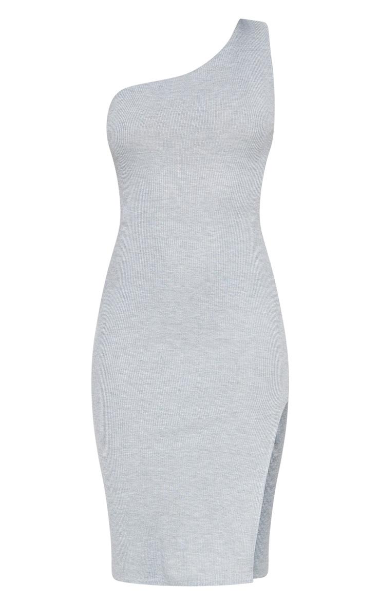 Grey Ribbed One Shoulder Midi Dress 3