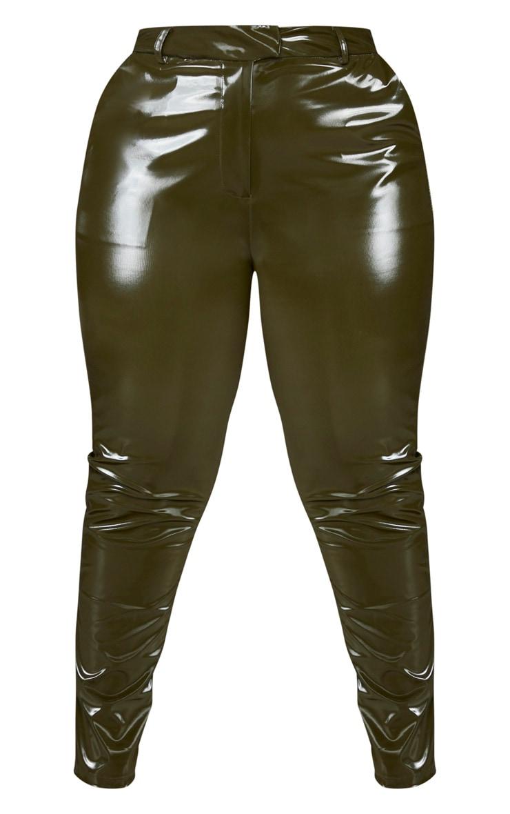 Plus Khaki Vinyl Skinny Trousers 3