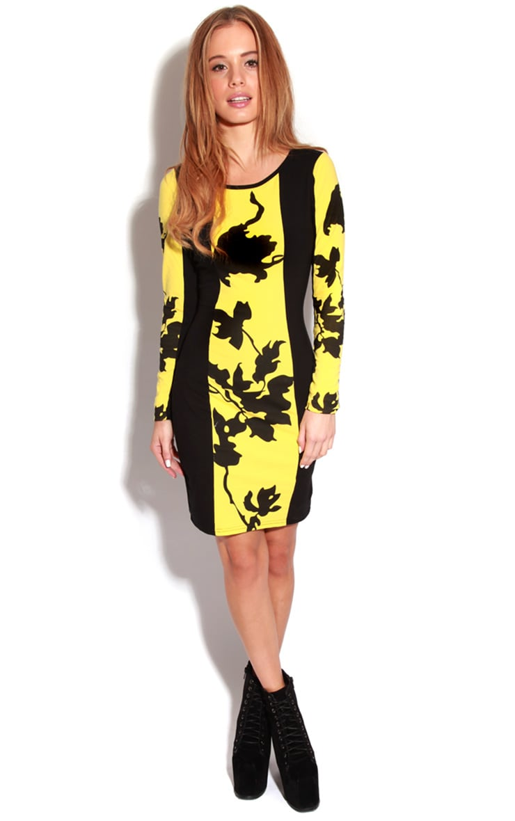 Rebekah Yellow & Black Floral Dress-S/M 4
