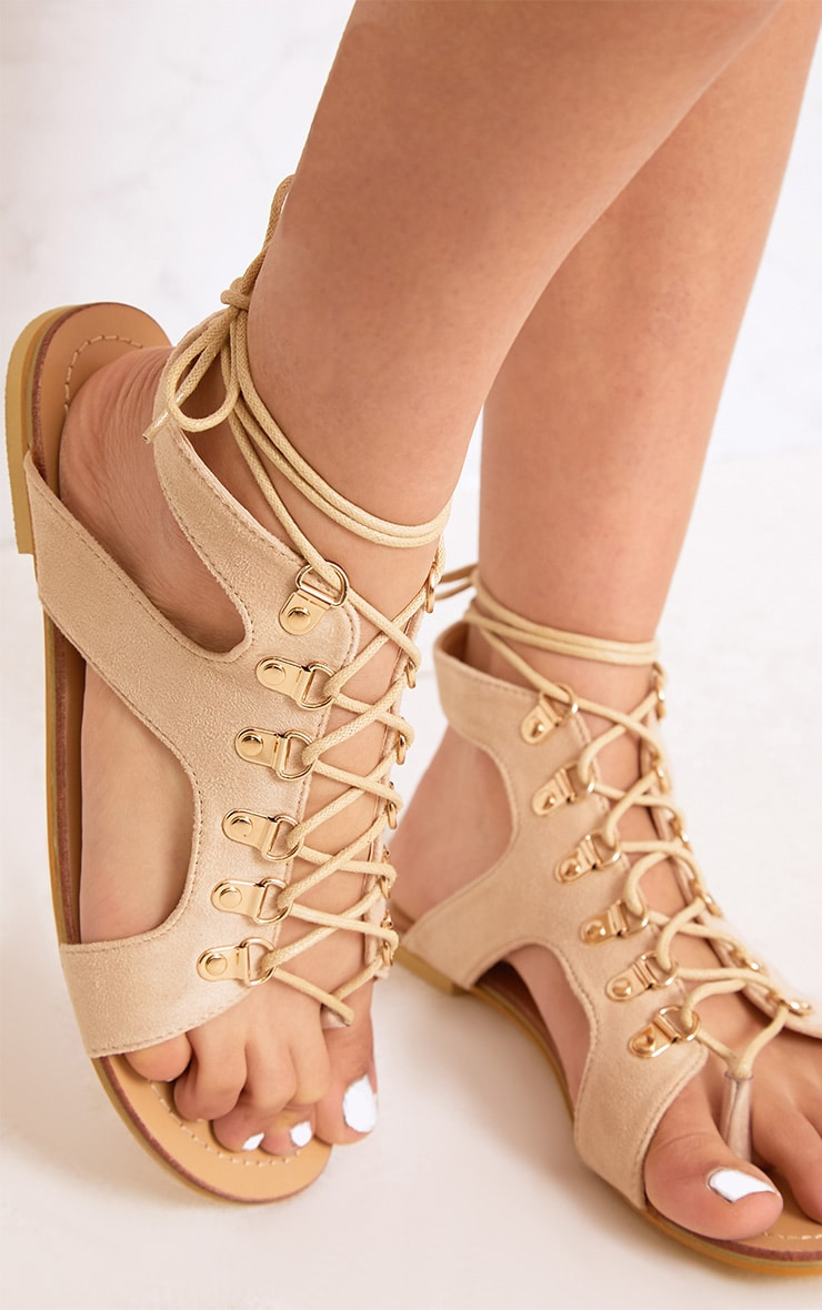 Nerina Nude Lace Up Gladiator Sandals 5