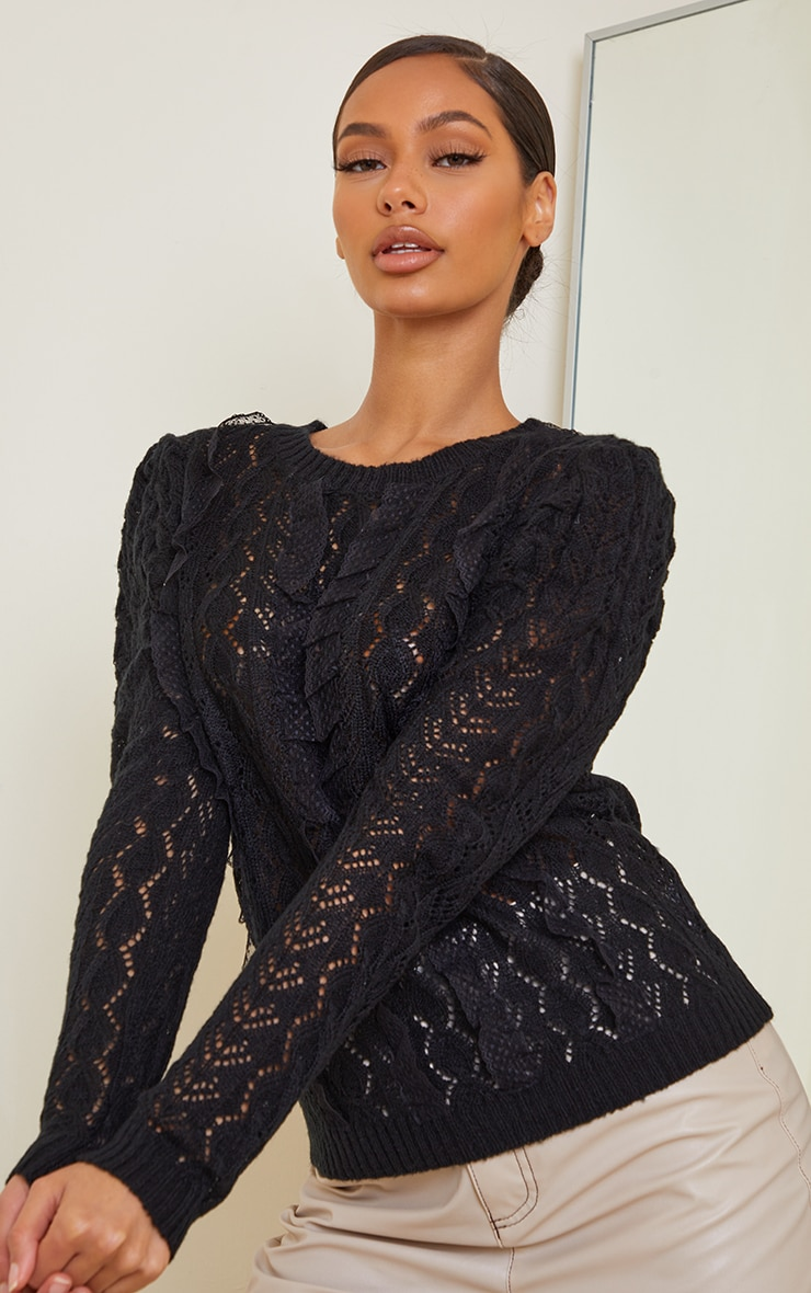 Black All Over Pointelle Knitted Sweater 3