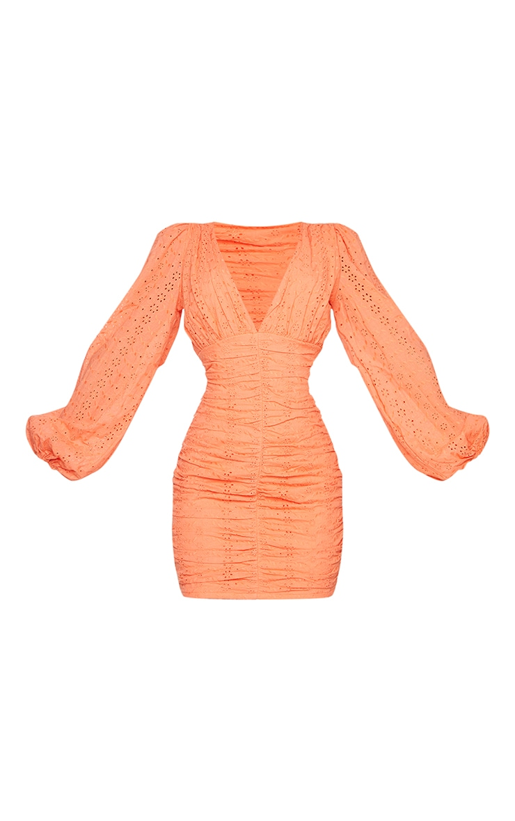 Coral Broderie Anglaise Ruched Balloon Sleeve Bodycon Dress 5