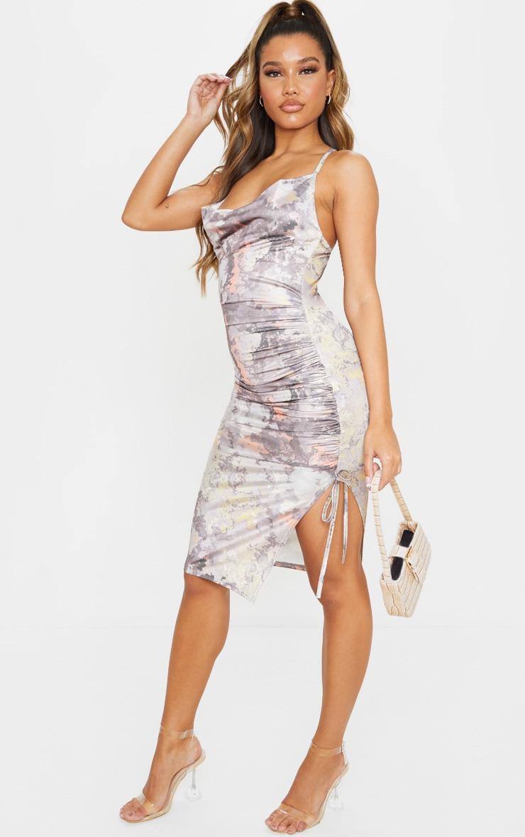 Multi Disco Slinky Marble Print Ruched Midi Dress 1