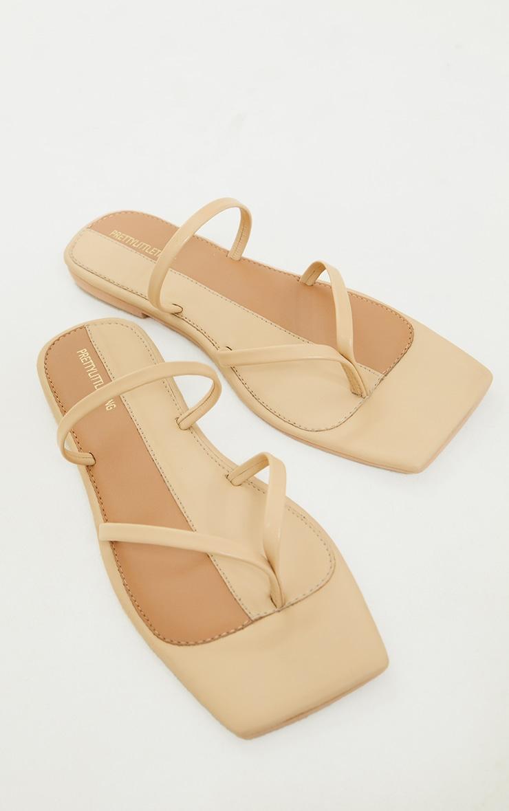 Nude Real Leather Toe Loop Slide On Square Toe Sandals 3