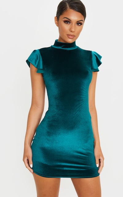 Emerald Green Velvet Short Frill Sleeve Bodycon Dress