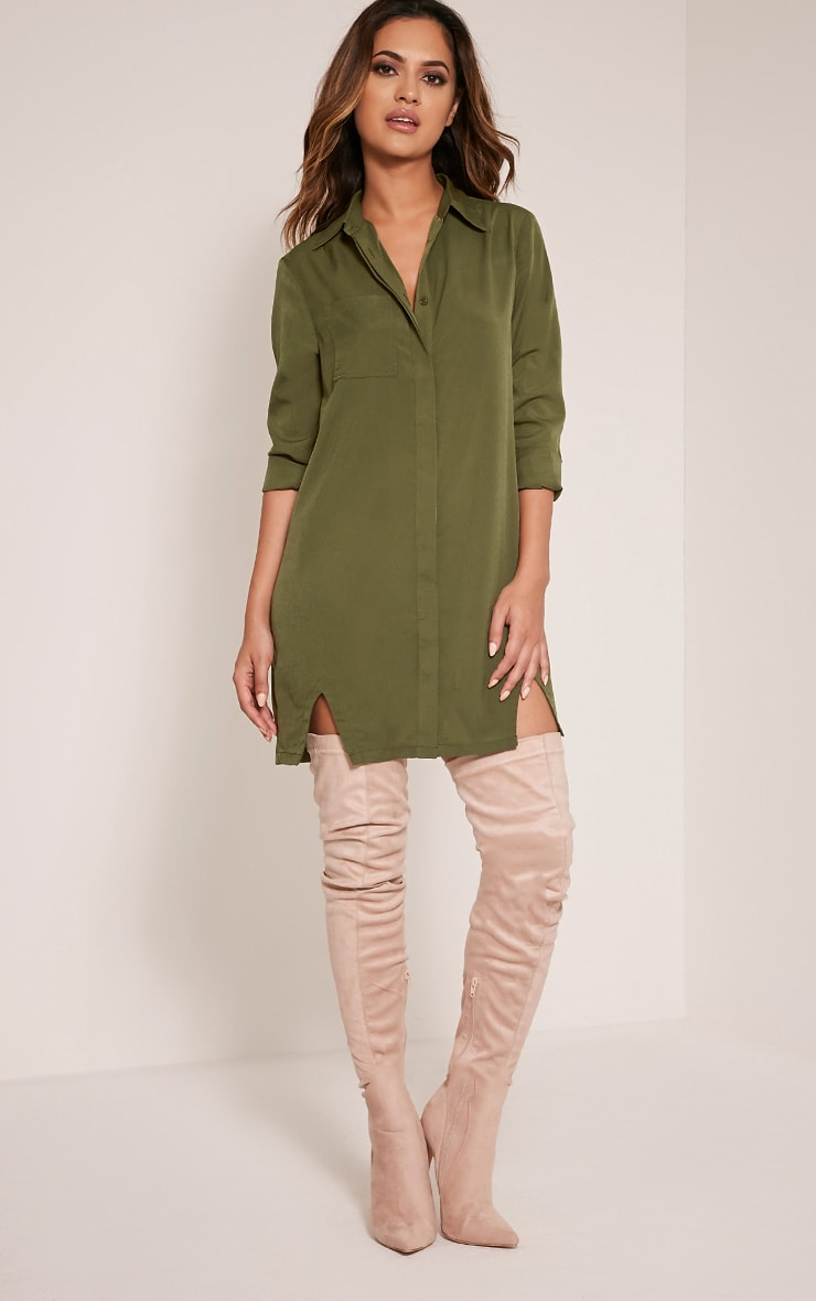 Bronte Khaki Split Detail Shirt Dress 5