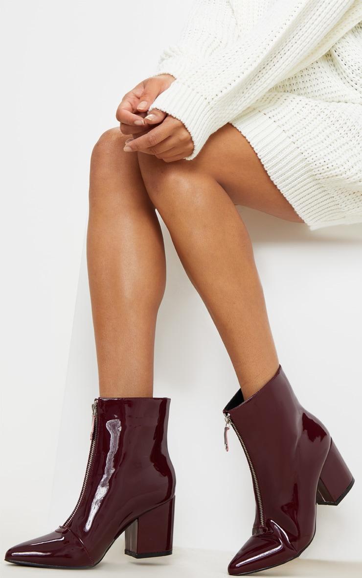 Burgundy Point Toe Zip Front Block Heel Ankle Boot 2