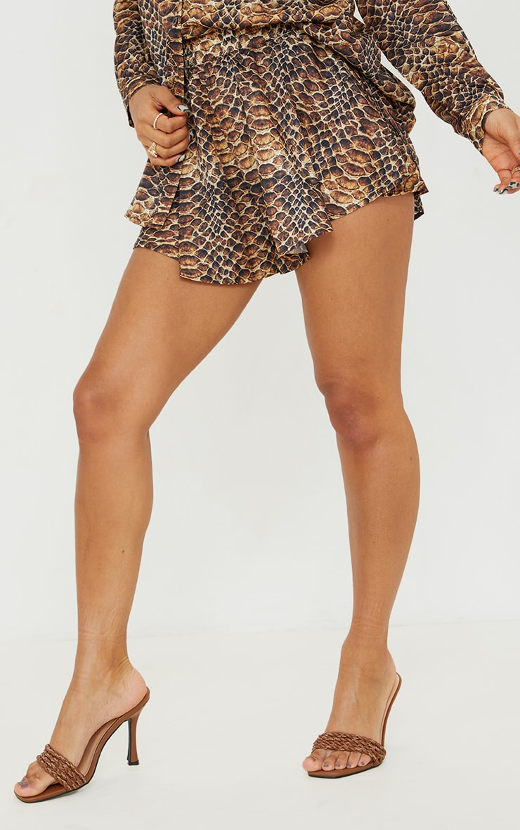 Brown Snakeskin Print Floaty Shorts 2