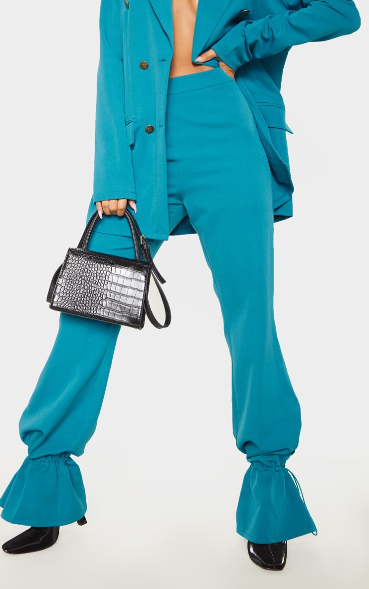 Teal Woven Toggle Cuffed Straight Leg Trouser 5