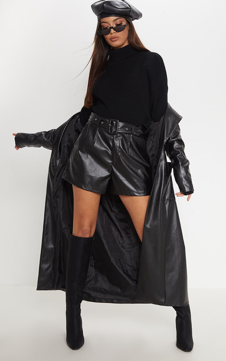 Black Faux Leather Belted Short 5