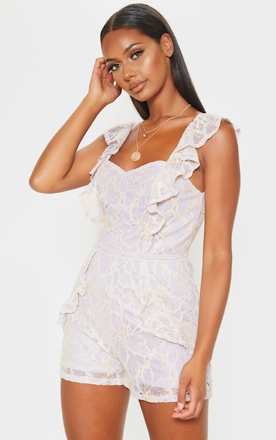 2ca70123cef Lilac Lace Frill Detail Playsuit
