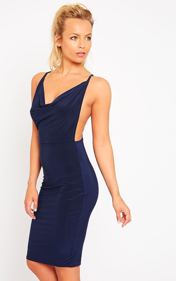 Orion Navy Slinky Cowl Neck Dress 1