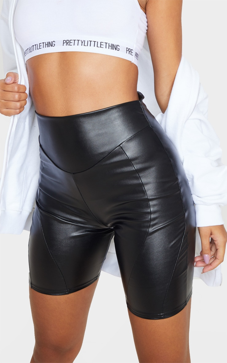 Black Faux Leather Front Seam Detail Bike Short 6