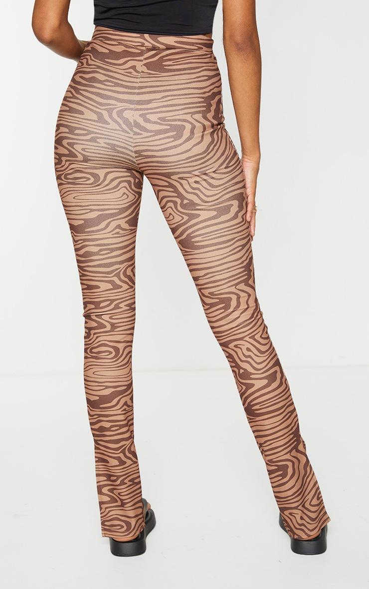 Brown Zebra Print Scuba Split Hem Leggings 3