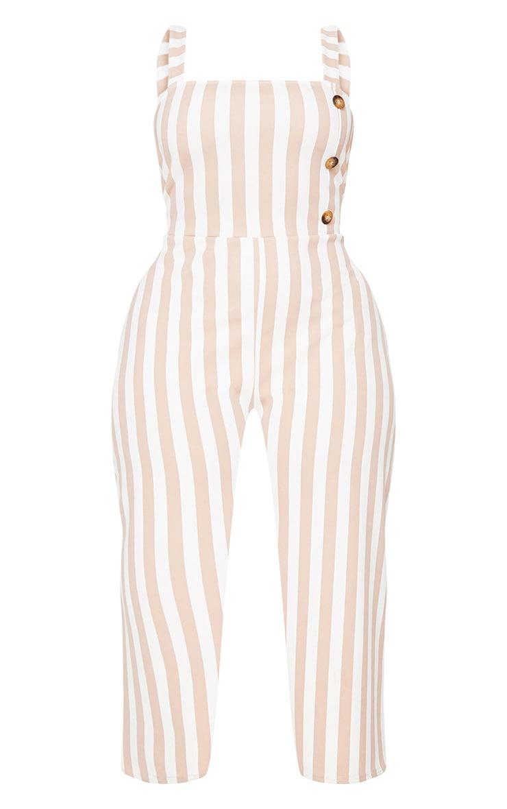Plus Taupe Stripe Tortoise Button Culotte Jumpsuit 3
