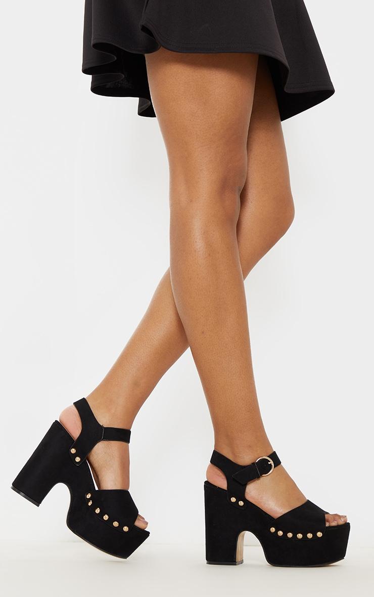 Black Studded Platform Sandal 1