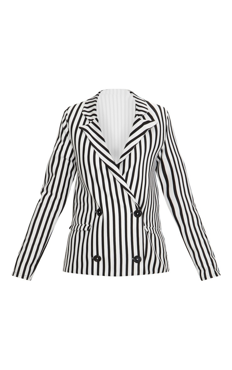 Black Monochrome Stripe Double Breasted Blazer 3