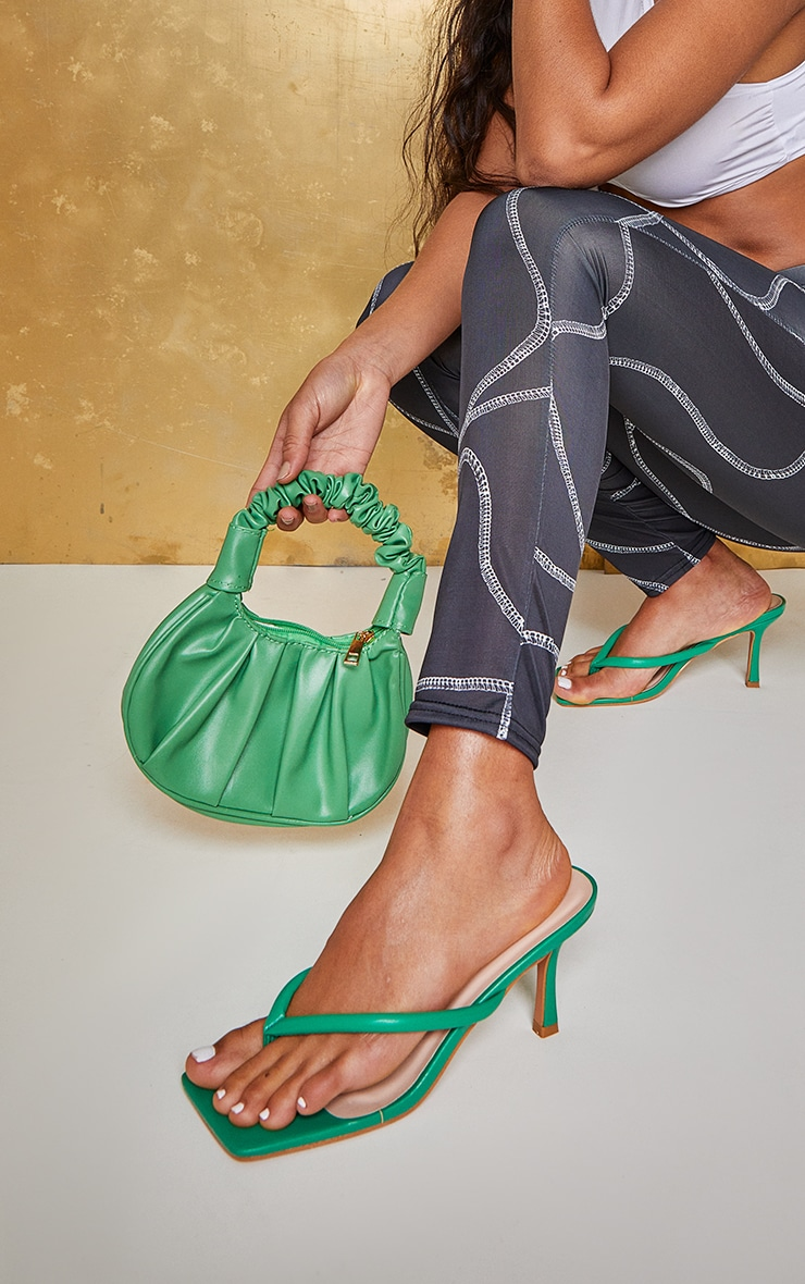 Green PU Toe Thong Low Heel Mules 1
