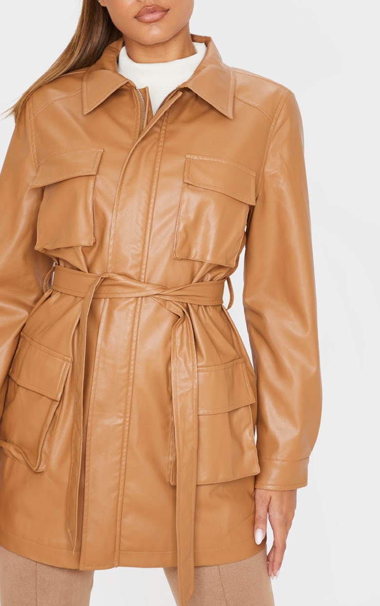Camel Faux Leather Pocket Oversized Jacket  5