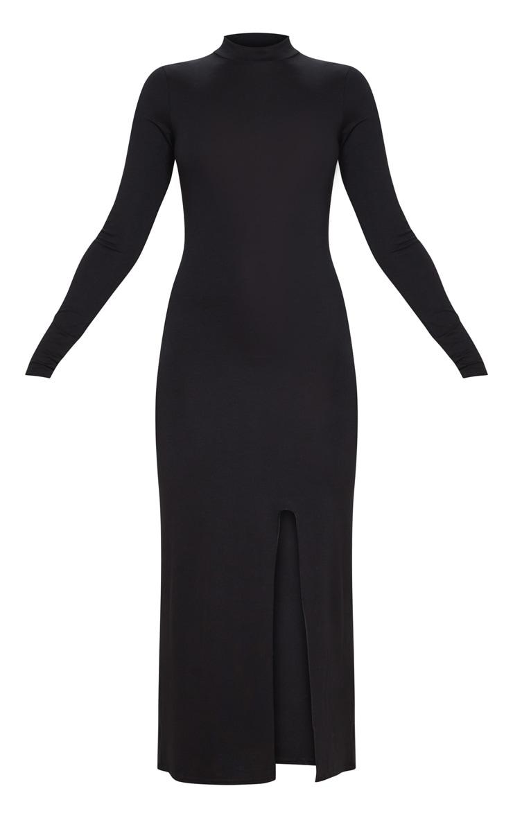 Black Long Sleeve High Neck Split Front Midi Dress 5