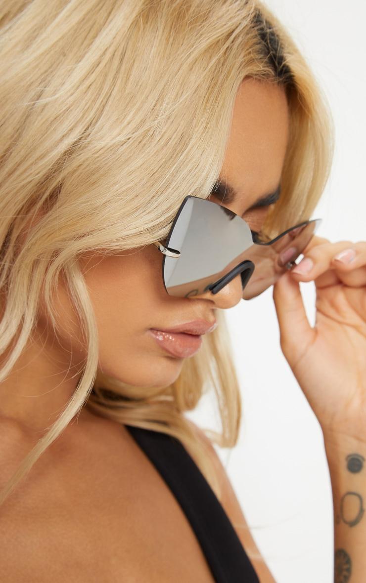 Silver Frameless Cat Eye Sunglasses 2