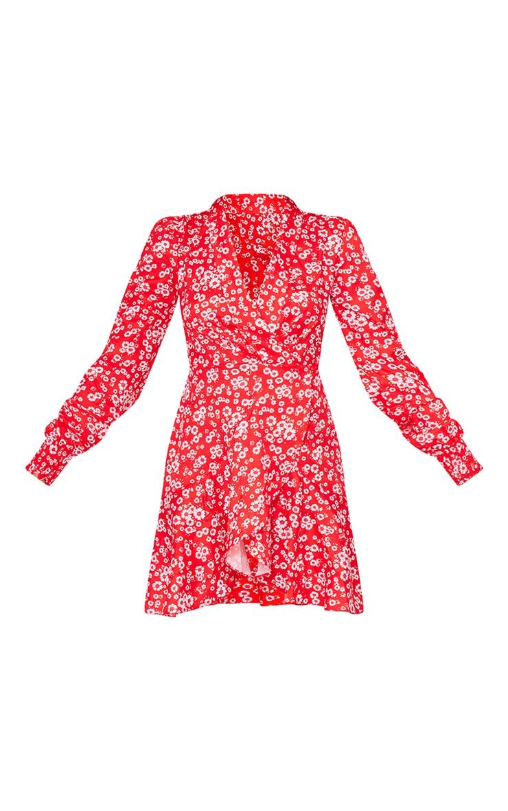Red Ditsy Print Frill Edge Detail Tea Dress 5