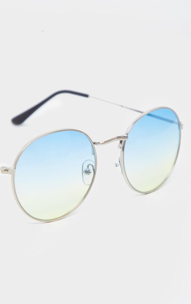 Green Fade Lens Metal Frame Round Retro Sunglasses 4