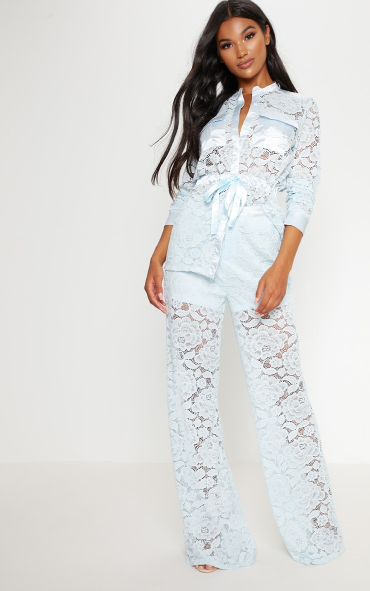 Baby Blue Lace Button Detail Wide Leg Trousers