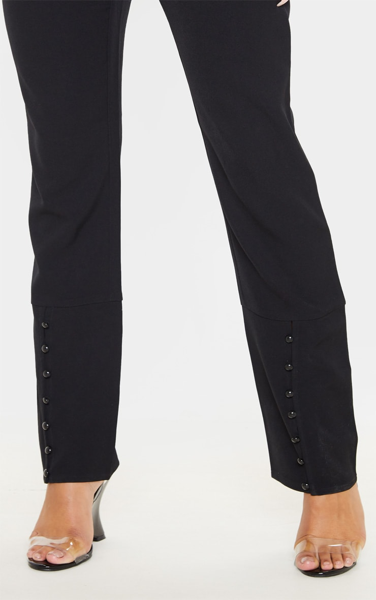 Black Woven Button Cuff Detail Straight Leg Pants 5