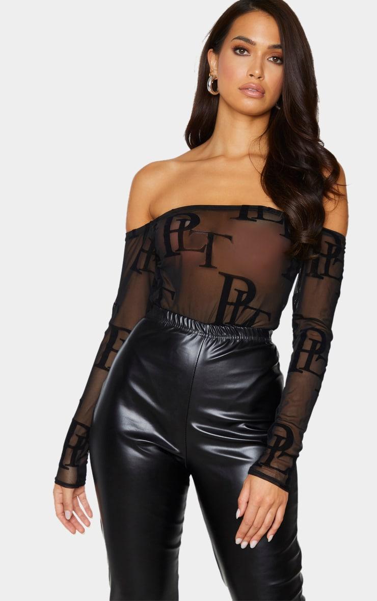 PRETTYLITTLETHING Black Mesh Monogram Bardot Long Sleeve Bodysuit 1