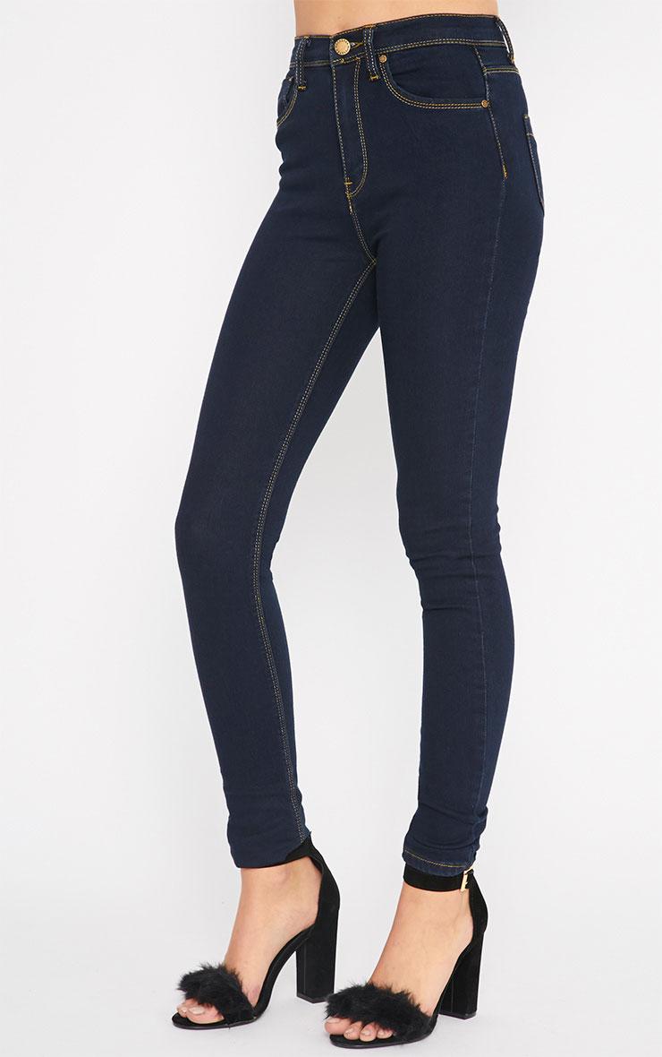 Lowri Dark Wash Rolled Up Skinny Jean  4