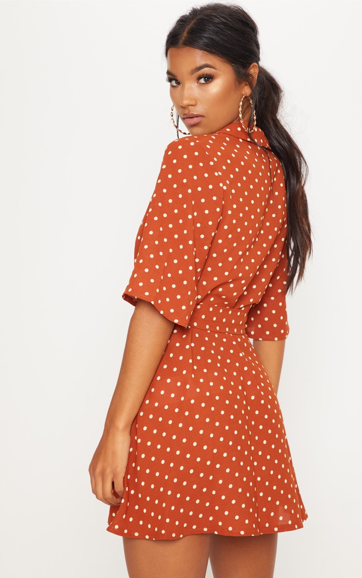 Terracotta Polka Dot Tea Dress 2