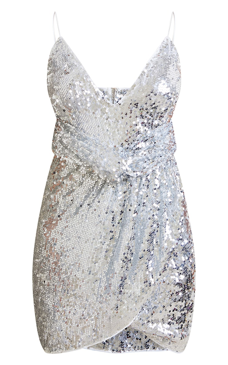 Petite Silver Sequin Wrap Front Strappy Bodycon Dress 5