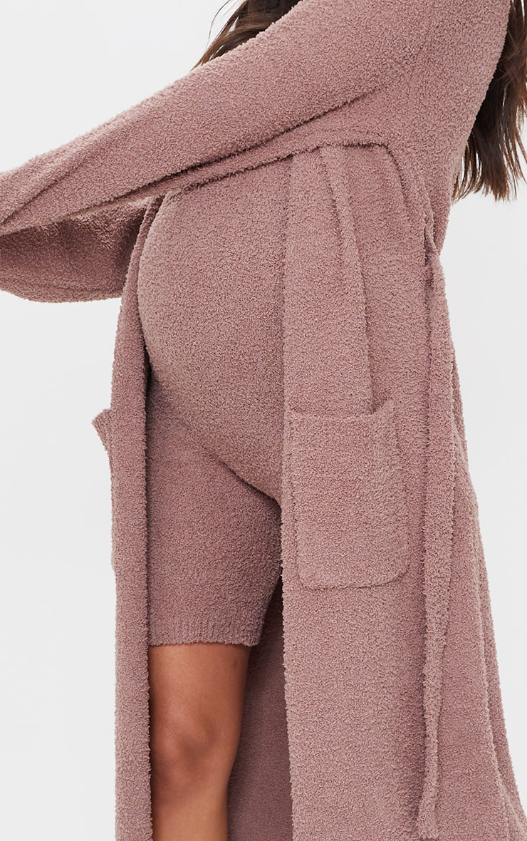 Maternity Taupe Chenille Slouchy Cardigan 4