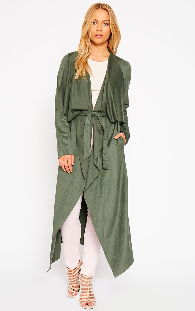 Liberty Khaki Suede Waterfall Coat 3