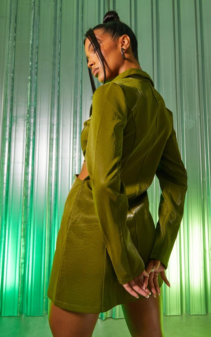 Green Textured PU Long Sleeve Cut Out Waist Blazer Dress 2